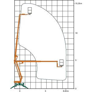 Diagramm der Anhänger-Arbeitsbühne AGT 15 mit Maßangaben