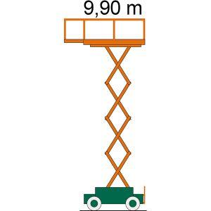 Diagramm der Scherenbühne SB 10-0,7 E mit Angabe zur Arbeitshöhe