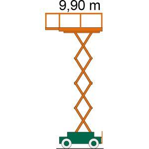 Diagramm mit Arbeitshöhe der Scherenbühne SB 10-1,2 E