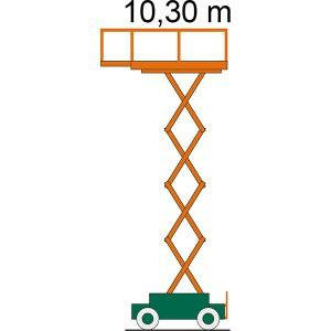 Desenul platformei foarfece SB 10-1,6 E cu indicarea înălțimii de lucru