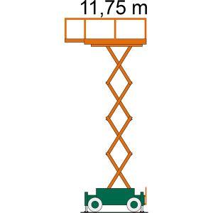 Diagramm der Elektro-Scherenbühne SB 12-1,7 EAS von SkyJack