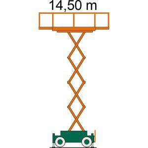 Gelände-Scherenbühne SB 14,5-2,3 AS als Zeichnung mit Arbeitshöhe
