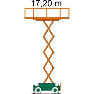 Diagramm mit Arbeitshöhe der SB 17-2,3 AS Scherenbühne