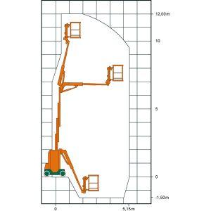 Diagramme de travail de la plate-forme de travail télescopique articulée automotrice SGT 12 EV