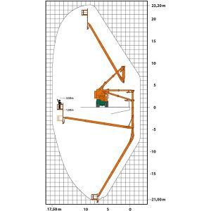 Arbeitsdiagramm mit Höhe, Absenktiefe und Reichweite des UBK 17,5 Brückenuntersichtgeräts mit Hubarbeitsbühne