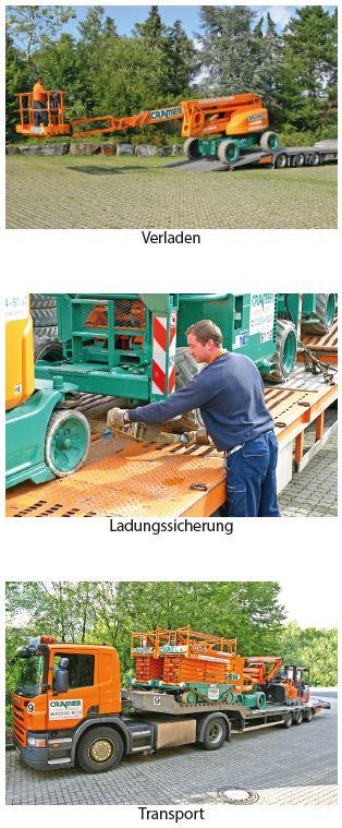 Lkw-Fahrer Verladen, Ladungssicherung, Transport der Arbeitsbühnen