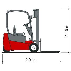 Wózki widłowe Seitenansicht GSE 20-4500 o wymiarach