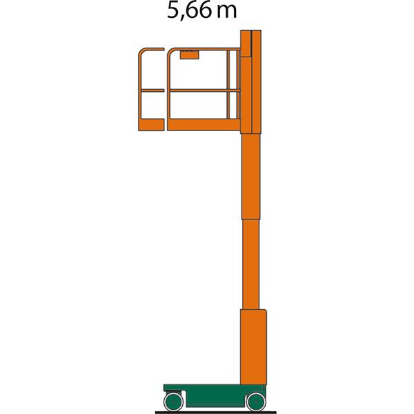 Diagramm mit Arbeitshöhe des SL 06 E Personenlifts