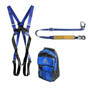 Bir emniyet koşum takımı ve kemer sönümleme cihazı ile bir PSA konnektörü içeren kişisel koruyucu ekipman
