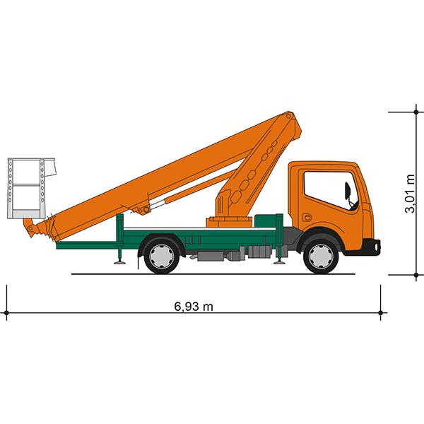 Seitenansicht mit Fahrzeugmaßen der Lkw-Arbeitsbühne T 29 B